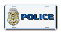 Police Car License Plate Decal